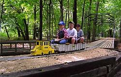 One of the trains coming across the tressel.